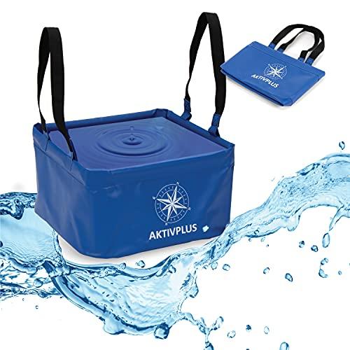AktivPlus® Robuster Falteimer mit über 16L Kapazität (Blau) | Verstärkte Ecken & lange Schleifen als faltbarer Eimer, beim Camping,...