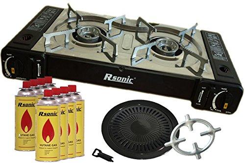 Doppel Gaskocher 2 flammig Campingkocher 2er Kocher 2x 2,3 KW + Grillaufsatz Grillplatte + 8x Gaskartuschen + Phönix Gasherdkreuz