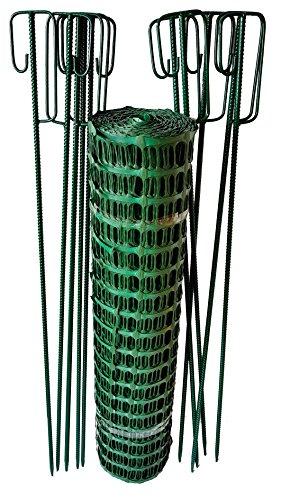 UvV Set Fangzaun in grün 50 m x 1 m hoch + 10 grüne Absperrleinenhalter, Absperrnetz, Maschenzaun, Bauzaun Rolle Kunststoff Extra...