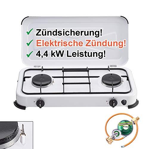 CAGO Gaskocher Camping-Kocher 2 flammig mit elektrischer Zündung und Zündsicherung, inkl. Gasschlauch mit Manometer Gas-Füllstandsanzeige...