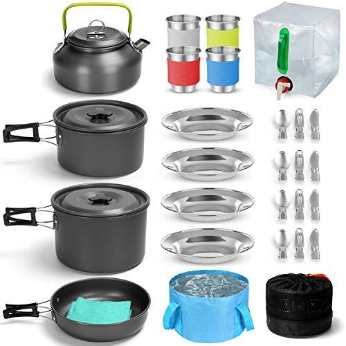 Odoland Camping Geschirr Set 29 Teiliges Camping Kochset inkl. Faltbare Kochgeschirr für Camping Besteck Faltbare Waschschüssel...