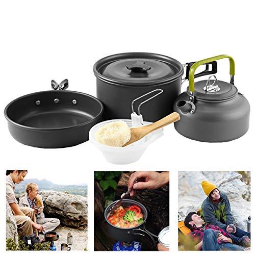 Buycitky Camping Kochgeschirr,10-teiliges Camping Kochset abnehmbare Topfset,Outdoor Koch Geschirr,Camping...