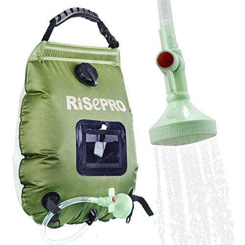 RISEPRO Solar-Duschtasche, 20 l, solarbetrieben, Campingdusche, mit Temperatur, Heißwasser, 45 °C, Wandern, Klettern