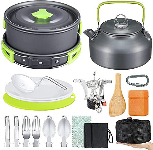Camping Kochgeschirr Set,18-teiliges Outdoor Geschirr Set mit Faltbare Besteck Mini Campingkocher Wasserkocher für Outdoor Kochen Picknick...