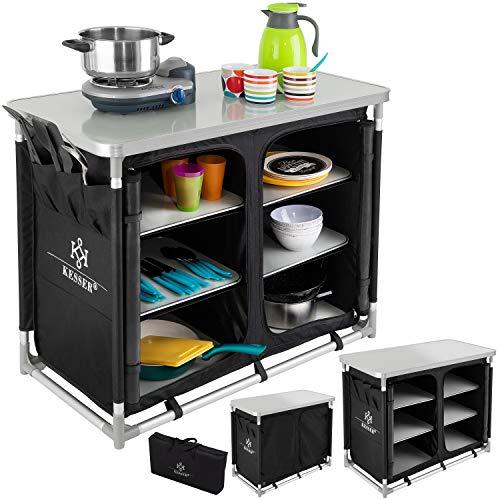 KESSER® Campingschrank, Campingküche mit Aluminiumgestell, Spritzschutz und Tragetasche Kocherschrank für Camping, Campingmöbel, Outdoor...