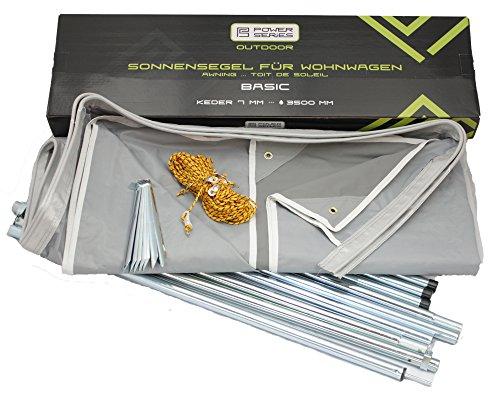 Powerseries® Wohnwagen Sonnensegel Sonnendach Vorzelt Basic   Stahlgestänge   Tiefe 240cm   Breite 300cm - 800cm   Ideal für Caravan und...