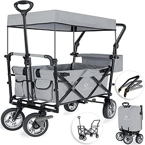 KESSER® Bollerwagen faltbar GT9000 mit Dach Handwagen Transportwagen | inkl. 2X 3-Punkt Gurtsystem| klappbar | Vollgummi-Reifen | bis 80 kg...