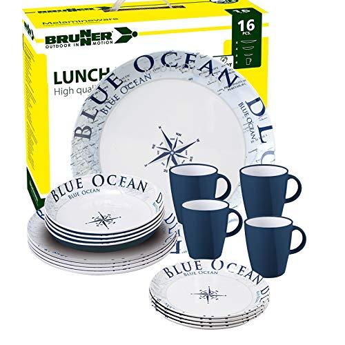 Brunner: Melamin-Geschirr Campinggeschirr (Antislip), 4 Personen (16 Teilig), Blue Ocean Lunch Box, Grill Und Picknick