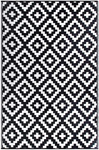 FH Home Indoor/Outdoor recyceltem Kunststoff Bodenmatte/Teppich - reversibel - Wetter und UV-beständig - Aztec - Black/White (150 cm x 240...