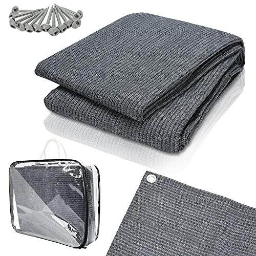 Einfeben Vorzeltteppich Markisenteppich 400x400cm mit 13 Heringe und Tasche grau blau Zeltteppich, Zeltunterlage waschbar atmungsaktiv,...