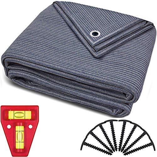 smartpeas Vorzeltteppich 250x500cm – Teppich blau/grau aus Polyethylen (HDPE) mit Edelstahl-Ösen robust & waschbar